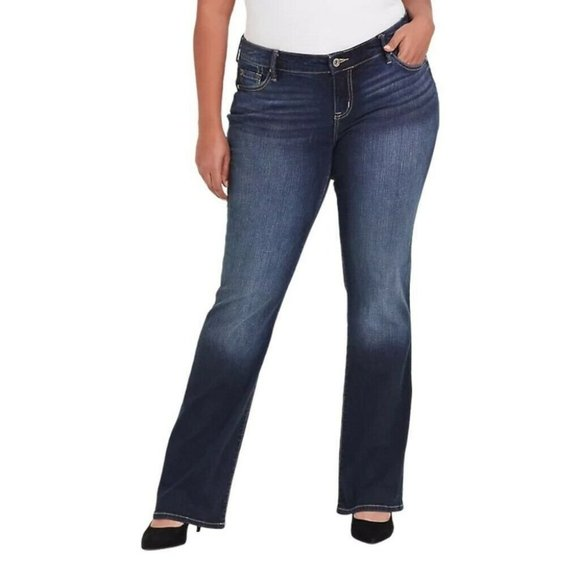 Torrid Bootcut Jeans Blue Stretch Whiskered Pocket